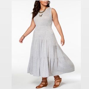 Lucky Brand Gray Ruched Layered Midi- Maxi Dress
